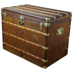1900s Louis Vuitton Wowen Monogram Steamer Trunk