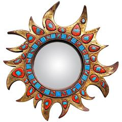 Vibrant Convex Wall Mirror with Ceramic Insets, Late 20th Century