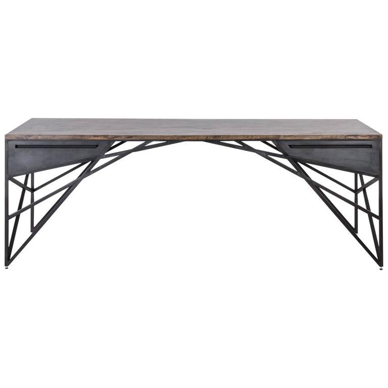 Truss Desk by Uhuru Design, oxidized maple, hand blackened steel