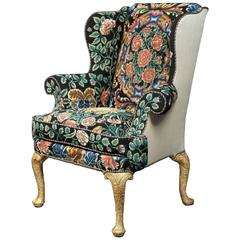 George I Gesso and Needlework Wing Chair
