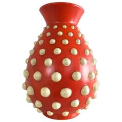 Scarlet Red Terracotta Vase with Ivory Embossed Polka Dots, Italy, 1940s