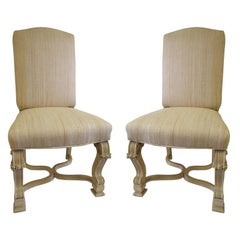 Pair of Side Chairs in the Style of J.C. Moreux in Cerused Oak, circa 1940