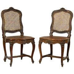 Fine 18th Century Louis XV French Provincial Carved and Caned Side Chairs, Pair