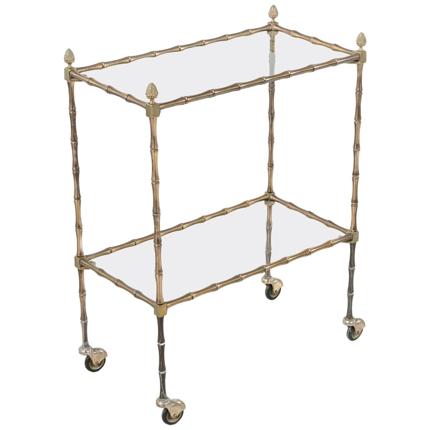 Mid Century French Maison Bagu S Bar Cart Of Bronze Faux