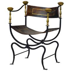 Renaissance Style Wrought Iron and Bronze Savonarola Chair with Original Leather