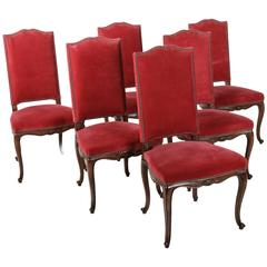 Set of Six French Louis XV Style Chairs of Solid Beechwood with Red Mohair