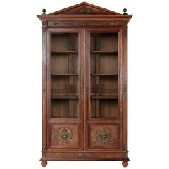 Tall Directoire and Empire Plum Pudding Mahogany Bibliotheque Bookcase Cabinet