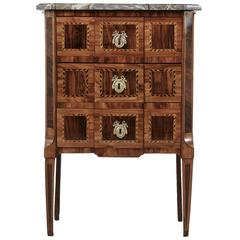 Fine Directoire Period French Marquetry Chest or Nightstand with Marble Top