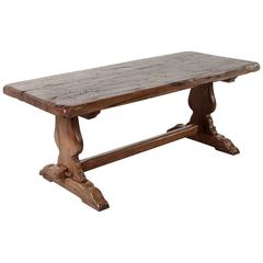 Antique French Farm Table in the Monastery Style of Solid Oak from 18th Century