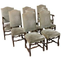 Mid-Century French Set of Eight Mutton Leg Louis XIII Style Dining Chairs