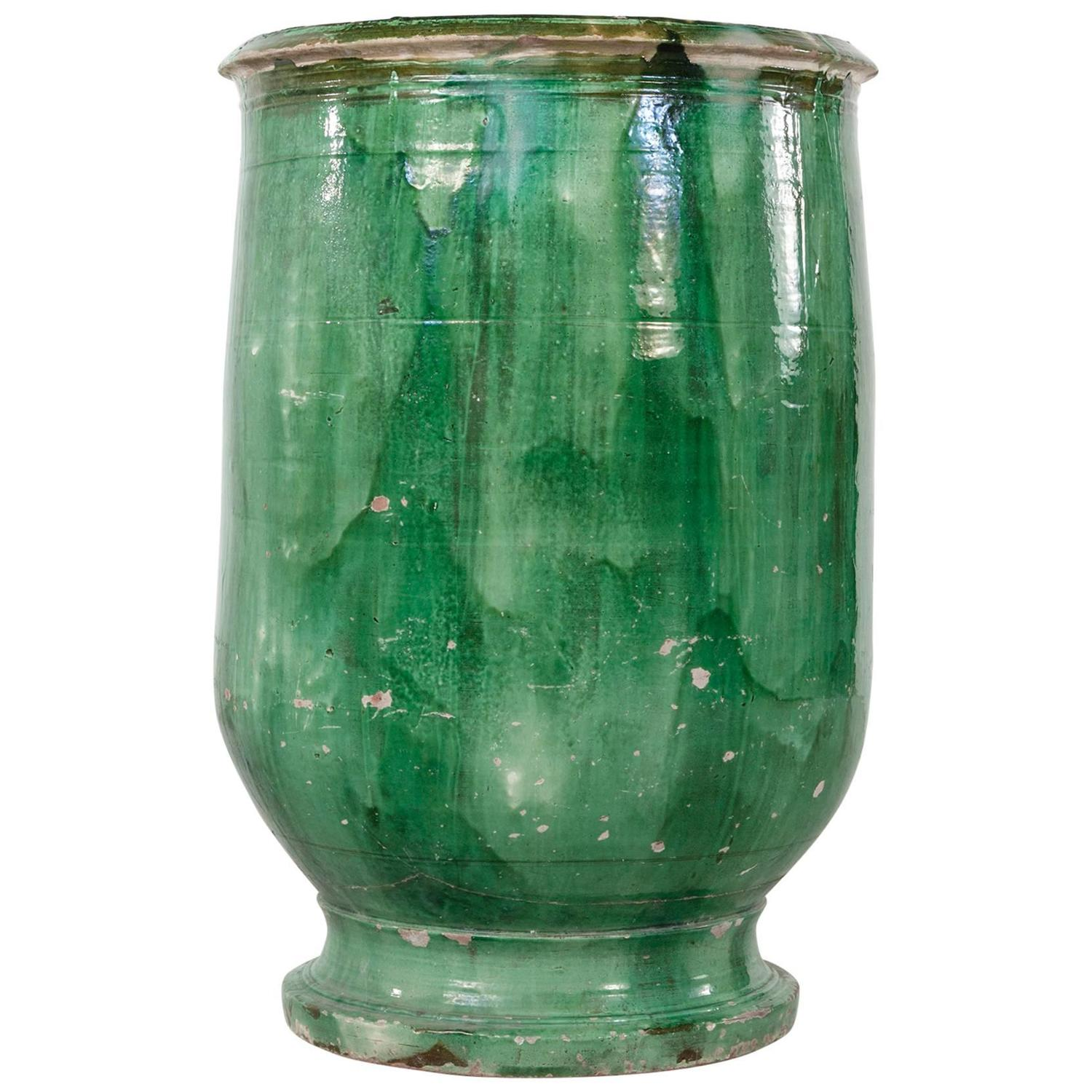 Large Provencal Green Biot Faience Olive Jar Urn Circa 1800 For Sale At 1stdibs