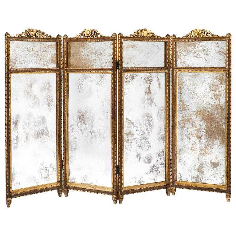 French Louis Xvi Gilt And Mirrored Folding Screen At 1stdibs