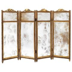 French Louis XVI Gilt and Mirrored Folding Screen