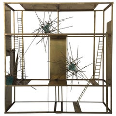 """""""Cosmos"""" Sculpture in Brass and Rock Glass Elements, Mounted on Pedestal Base"""