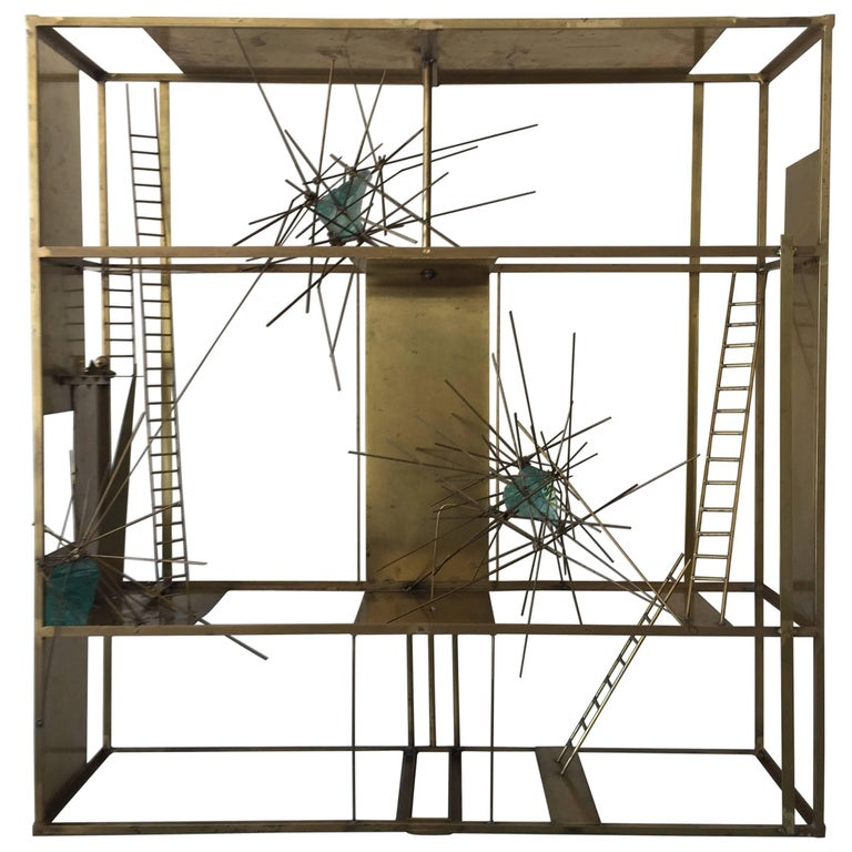 """""""Cosmos"""" Sculpture in Brass and Rock Glass Elements, Mounted on Pedestal Base For Sale"""