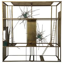 """Cosmos"" Sculpture in Brass and Rock Glass Elements, Mounted on Pedestal Base"