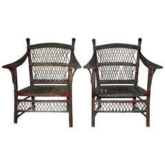 Pair Of 19th Century Wicker Armchairs