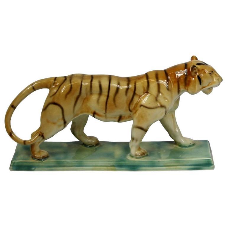 1930s Ceramic Tiger Sculpture, Ditmar Urbach