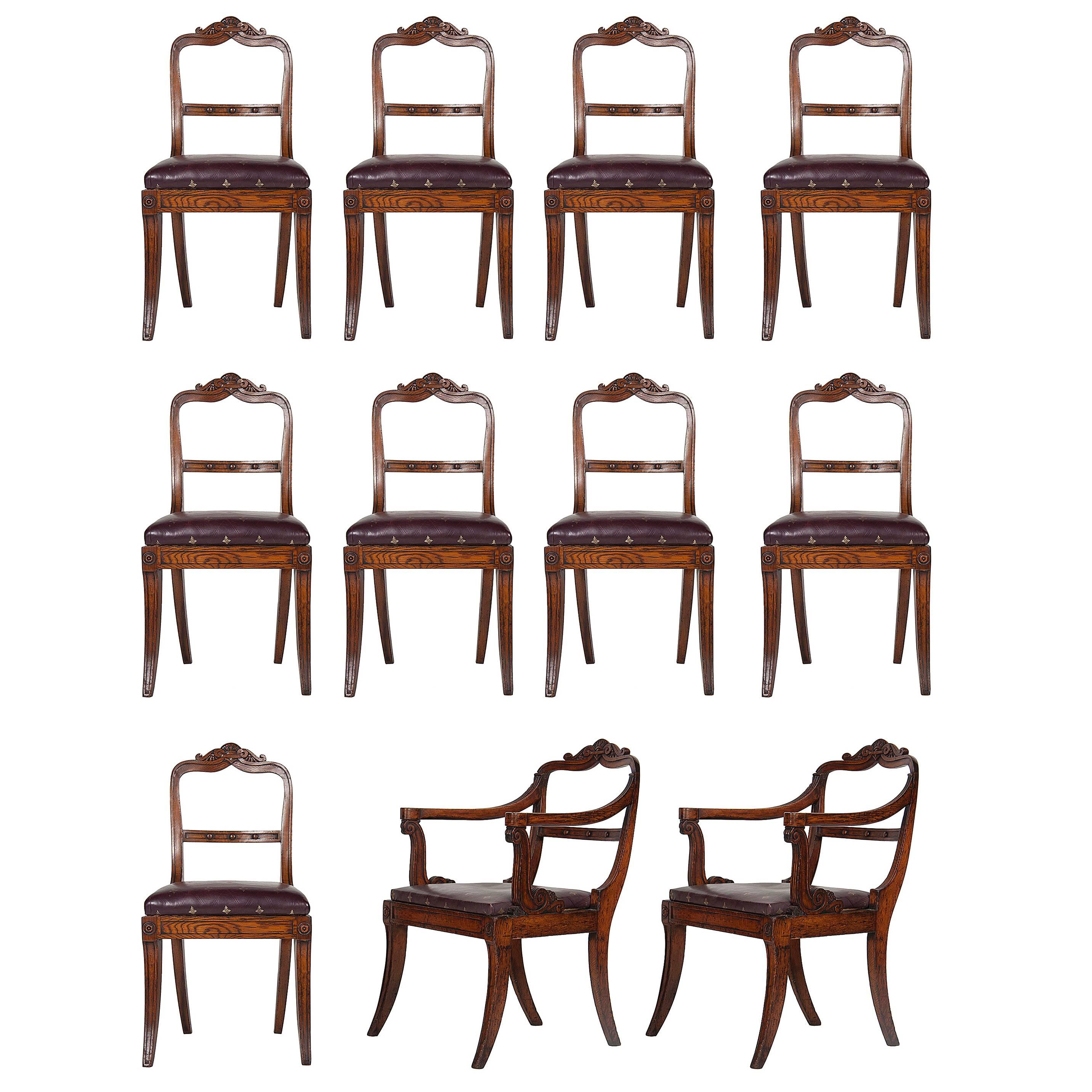 Set of Eleven Oak English Dining Chairs