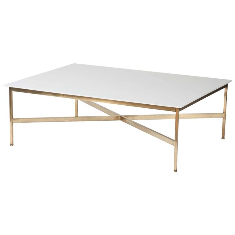 Large Paul Mccobb Brass And Vitrolite Milk Glass Coffee Table For Sale At 1stdibs
