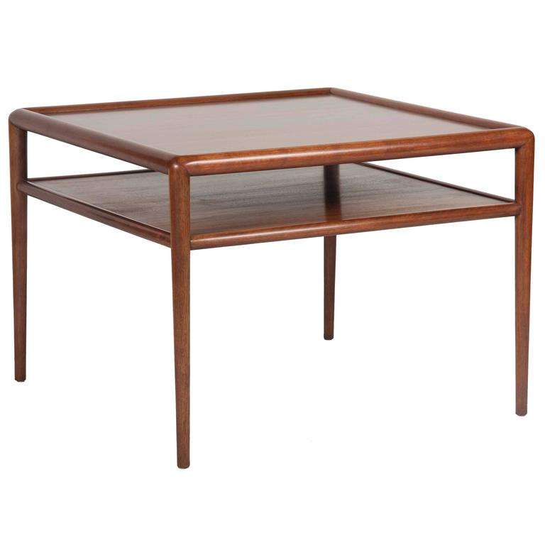 Two-Tier T.H. Robsjohn-Gibbings Walnut Side Table 1
