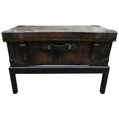 English Leather Trunk Adapted as a Coffee Table on a Wood Base, 19th Century