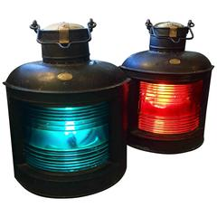 Pair of Very Large American 19th Century Ship's Bow Lights with Fresnel Lens