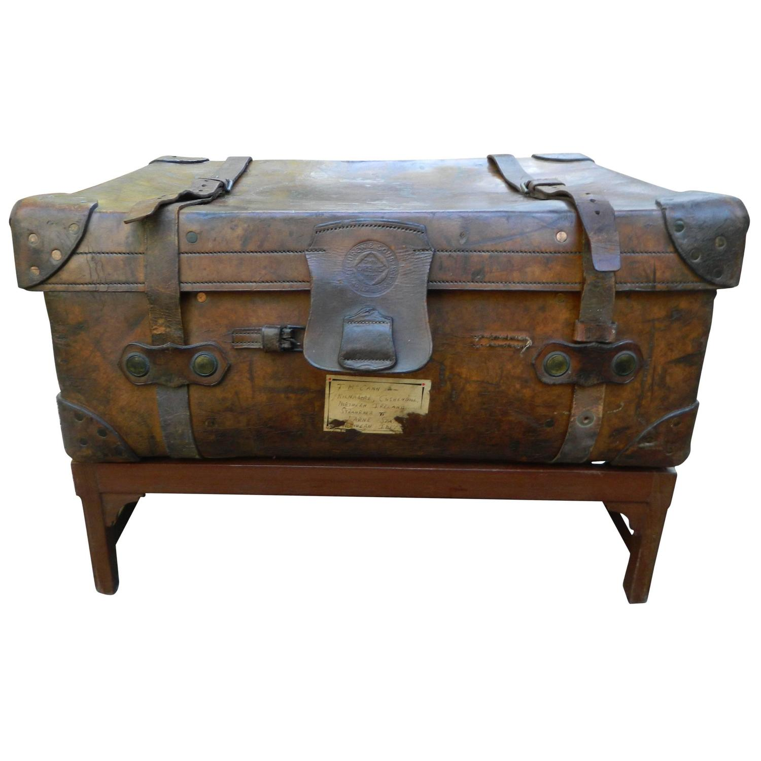 English Leather Suitcase Adapted as a Coffee Table on Stand, 19th ...