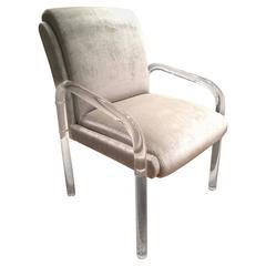 Hollis Jones Style Lucite Chair with Velvet Upholstery