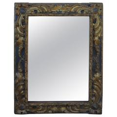 17th Century Baroque Gilded and Black Mirror