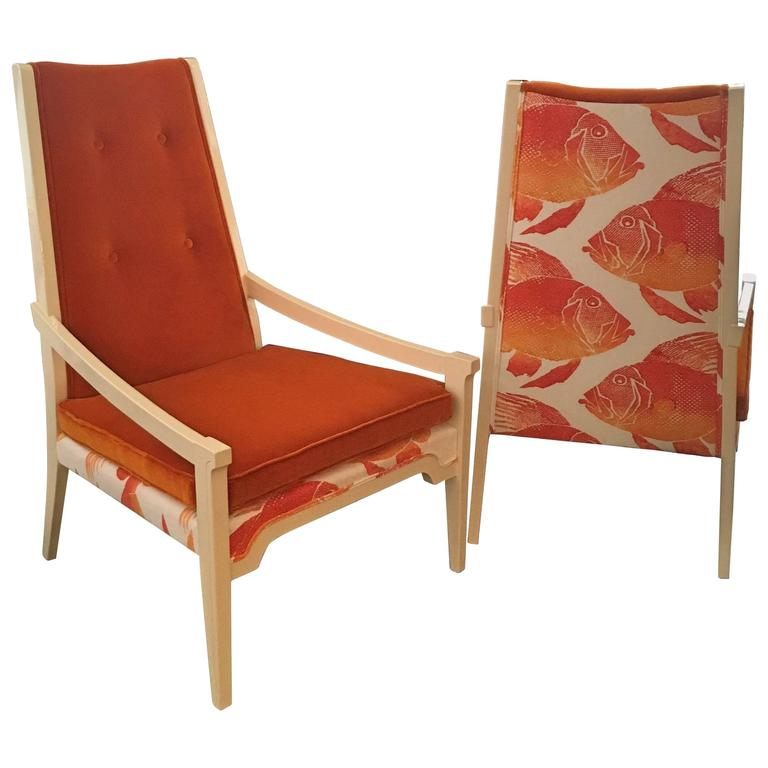 T.H. Robsjohn-Gibbings Style Mid Century Modern Pr of Velvet Arm Lounge Chairs