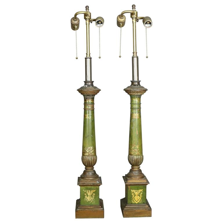 Pair of French Empire Tole Table Lamps