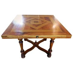 Custom-Made Square Marquetry Dining Table with Inlay Design, 20th Century