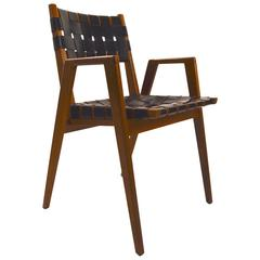 Leather Strap Walnut Armchair Attributed to Risom
