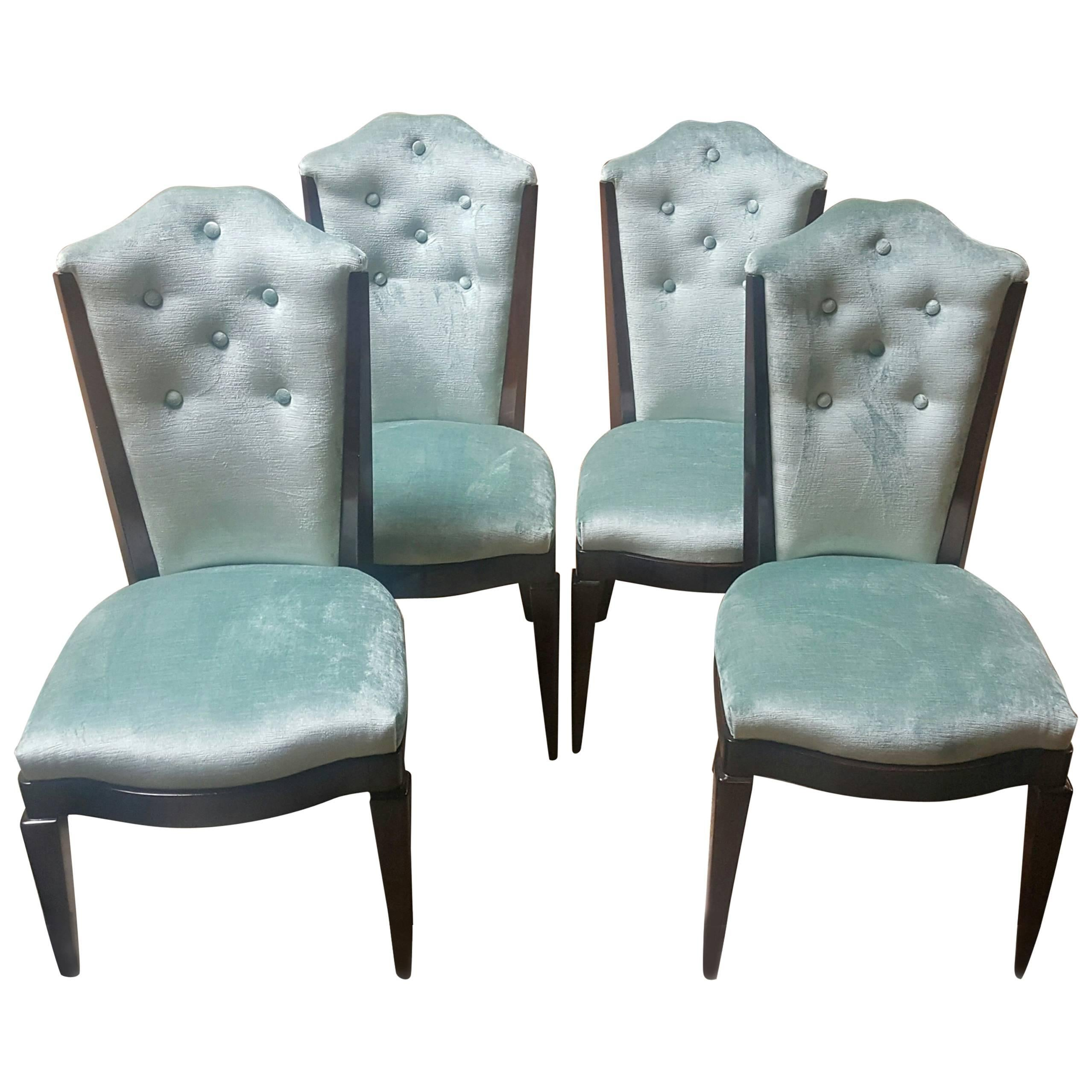 Hollywood Regency Dining Chairs Set of Four