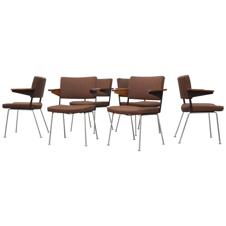Set of Six Gispen Dining or Office Chairs by A.R. Cordemeijer