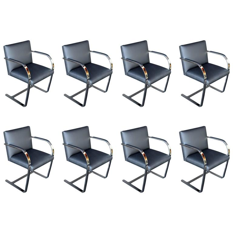 Set of Eight Brno Chairs by Mies van der Rohe