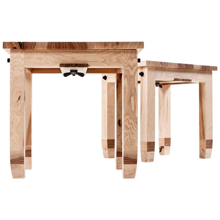 Pair Of Contemporary Hickory Benchlets Or Low Stools Made In Brooklyn In  Stock