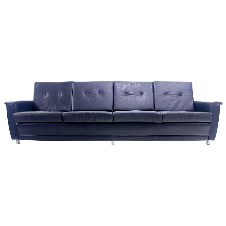 exceptional danish modern black leather sofa at 1stdibs