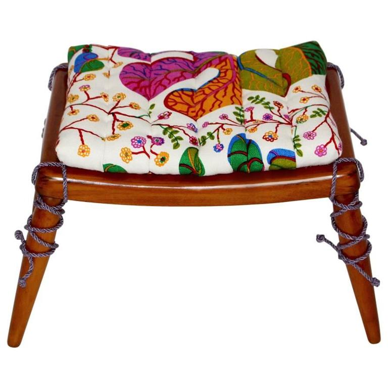 Solid Cherrywood Stool by Anna Lülja Praun with original Josef Frank Fabric 1