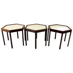 Set of Three Danish Modern Hans Andersen Rosewood Hexagonal Side Tables