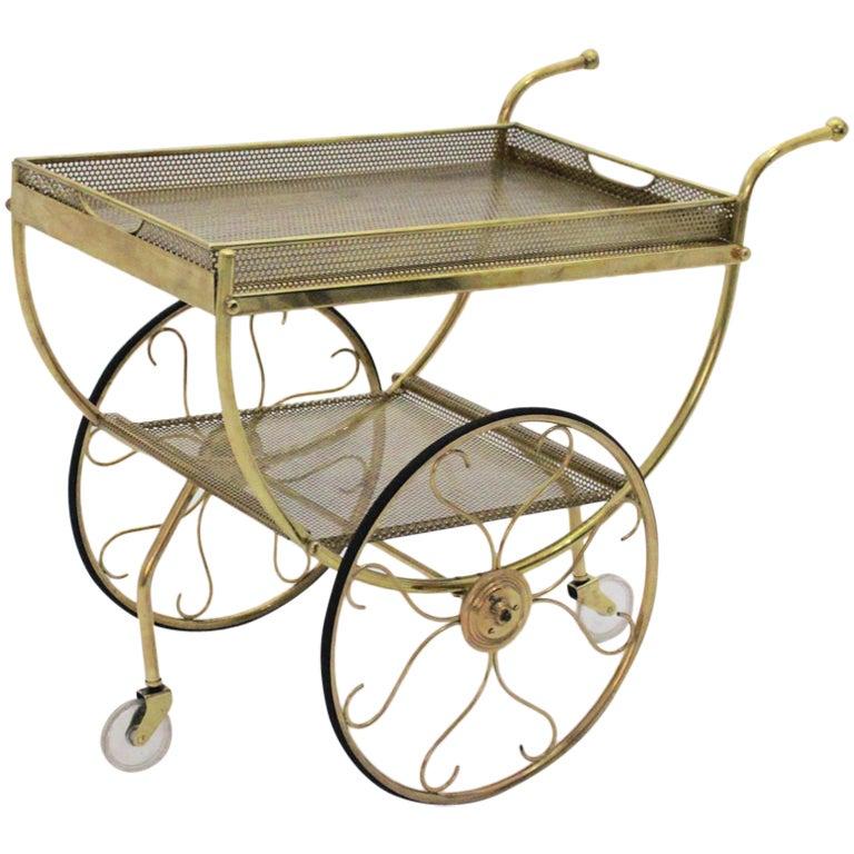Mid Century Modern Vintage Brass Bar Cart Svenskt Tenn Josef Frank attr. c. 1960