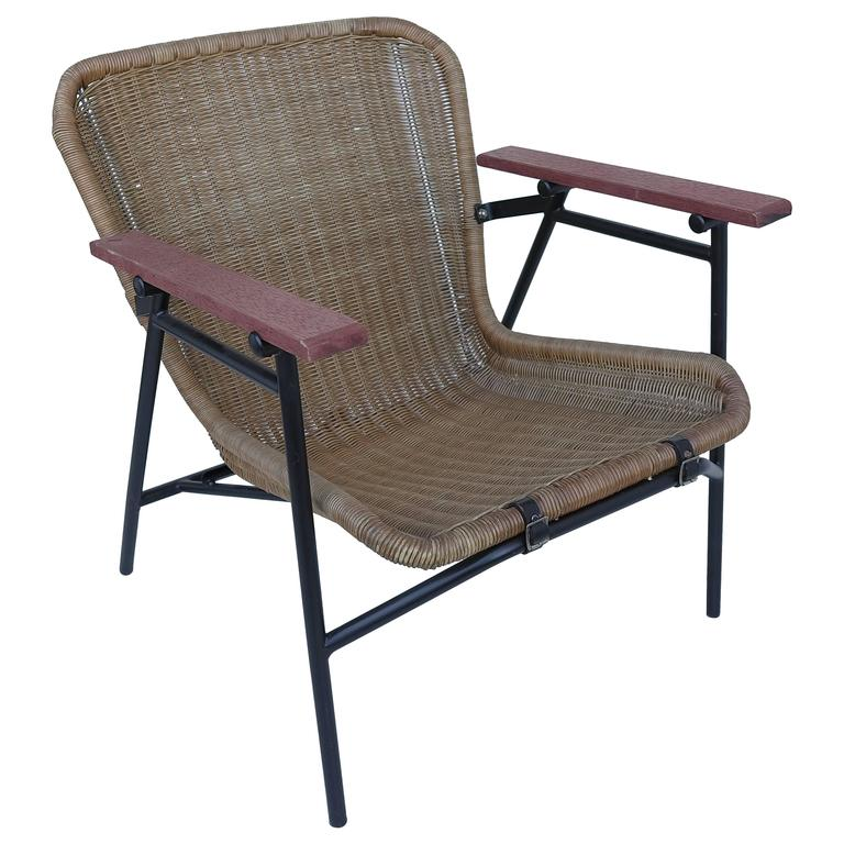 Rare dirk van Sliedregt Armchair in Rattan and Steel For Sale