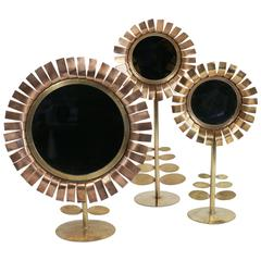 """1950s Set of Three """"Daisy"""" Brass and Copper Mirrors by Chatty Vallauris"""