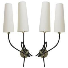 1950s Large Pair of Arlus Sconces