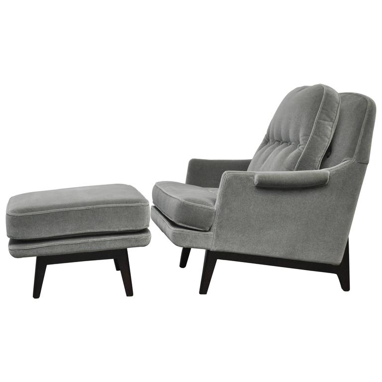 Dunbar Lounge Chair with Ottoman in Gray Mohair at 1stdibs