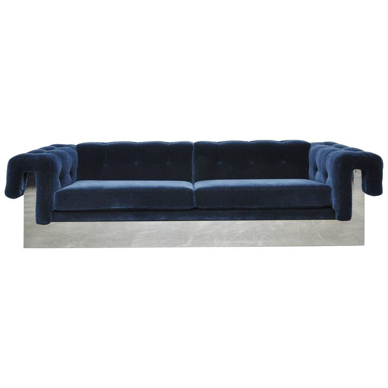 Milo Baughman Chrome Case Sofa in Blue Mohair