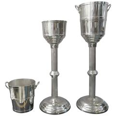 Plated Bronze Pair of Mid-Century Champagne Buckets on Pedestal, circa 1940