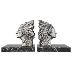 French Art Deco Indian Bookends by Ruffony on Marble Base, 1930