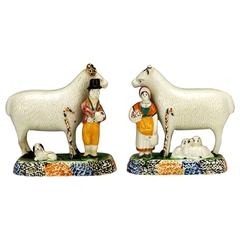 Pair of Yorkshire Prattware Ram and Sheep Figures with Shepherd and Shepherdess